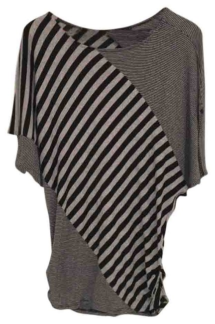 Item - Black and Grey Dress Comfortable Stripped Tee Shirt Size 4 (S)