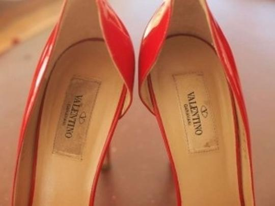 Valentino Patent Bow D'orsay High Heel Red Pumps