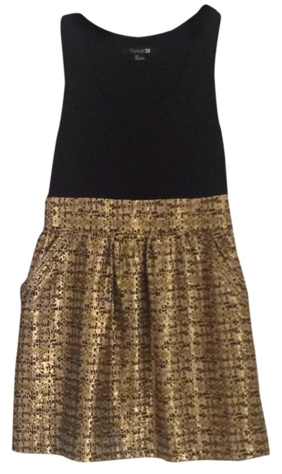 Forever 21 Black Gold Above Knee Short Casual Dress Size 4 S Tradesy