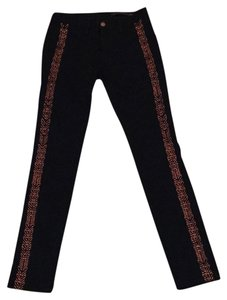 Rag & Bone & Skinny Decorative Detailed Night Out Skinny Jeans-Dark Rinse
