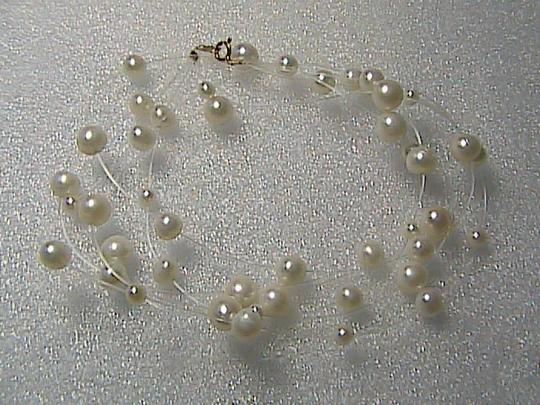unknown 14k Tin Cup 3-Strand FreshWater Pearl Necklace