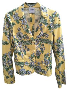 Moschino Yellow with light green, dark green and blue print Jacket