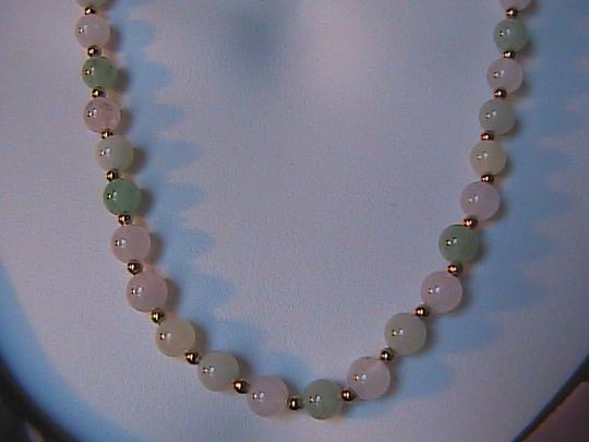 Vintage 14k Yellow Gold Jade , FW Pearl & Pink Quartz Necklace