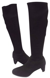 Stuart Weitzman Stretchy Suede Curved Heel Black Boots