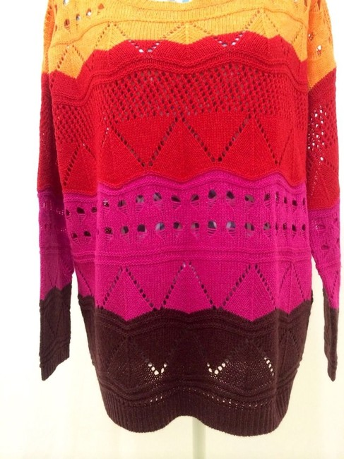 BCBGMAXAZRIA Striped Maxi Knit Crochet Brown Pink Orange Red Shirt Loose Fit Designer Sale Value Deal Quality Modern Cool Edgy On Sweater