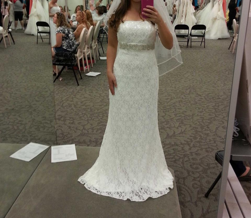 1b08b177 Galina Ivory Lace with Beads and Pearls. New Allover Beaded Sheath Gown  Empire Waist.