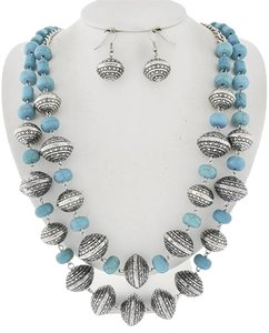 Burnished Silver Turquoise Stone Necklace & Earrings