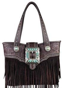 Montana West Trinity Ranch Leather Fringe Tote in Coffee