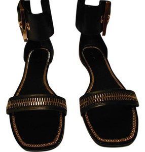 Rachel Zoe Bold Design Fashionable Supple Leather Wide Ankle Cuff Black Sandals