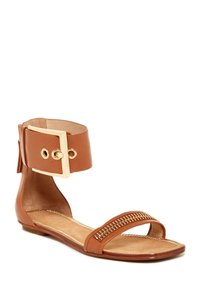 Rachel Zoe Bold Design Fashionable Supple Leather Wide Ankle Cuff Cuoio Sandals