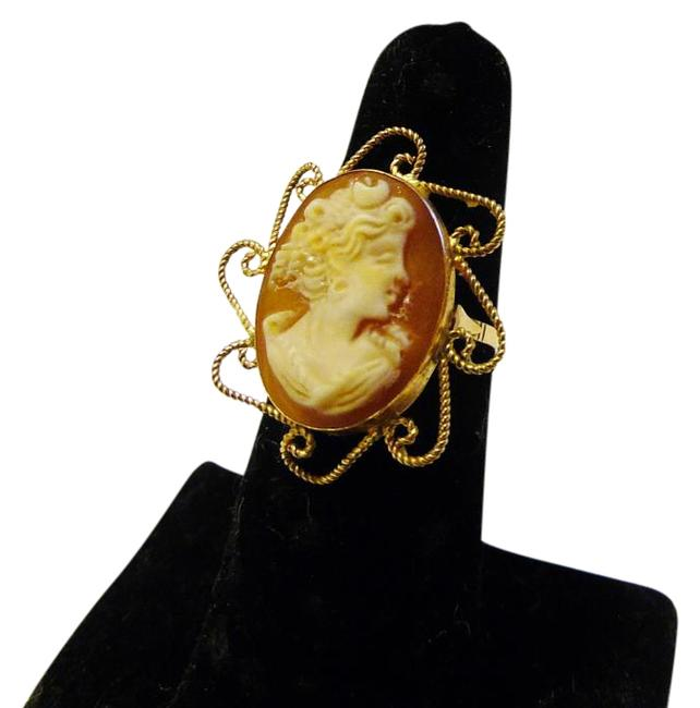 AMEDEO 14k Yellow Gold M&m Scognamiglio 20mm Cornelian Shell Cameo 7 Ring AMEDEO 14k Yellow Gold M&m Scognamiglio 20mm Cornelian Shell Cameo 7 Ring Image 1