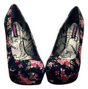 Dollhouse Stiletto Platform Black - Floral Pumps
