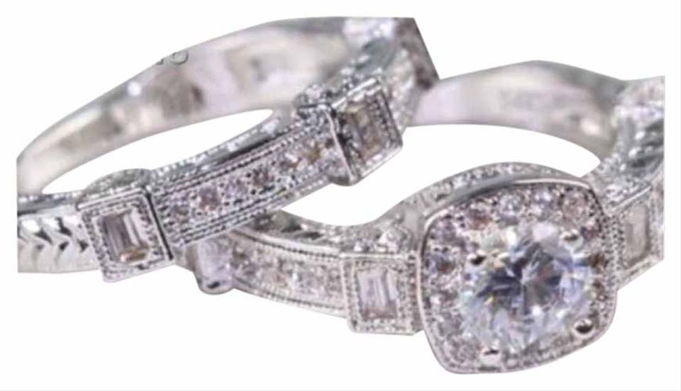 Silver New Antique Vintage White Sapphire White Gold Filled