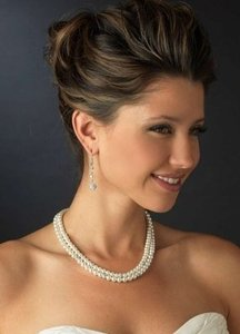 Elegance By Carbonneau Double Strand Pearl & Rhinestone Wedding Jewelry