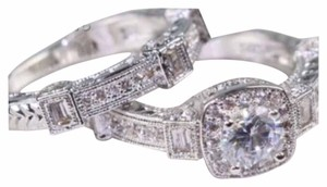 New Antique Vintage White Sapphire & White Gold Filled Wedding Ring Set 6, 7, 8