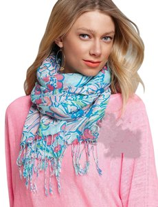 Lilly Pulitzer Lilly Pulitzer Murfee Scarf Shorely Blue Everything Nice Cashmere Silk