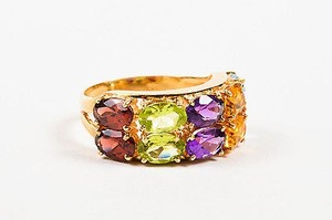 14k Yellow Gold Garnet Peridot Amethyst Citrine Quartz Blue Topaz Ring