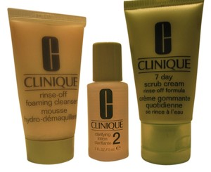 Clinique Clinique Cleansing Mini- Set; 7 Day Scrub Cream (1 oz.), Rinse-Off Foaming Cleanser (1 oz.) and Clarifying Lotion (1 oz.) - [ Roxanne Anjou Closet ]