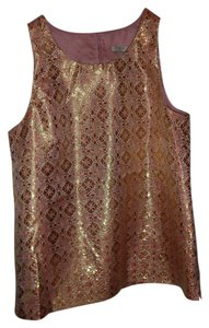 J.Crew Silk Shimmer Work Night Out Top Gold and Pink Jacquard