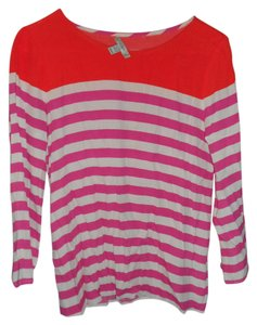 J.Crew Boatneck Top Pink and Orange Stripe