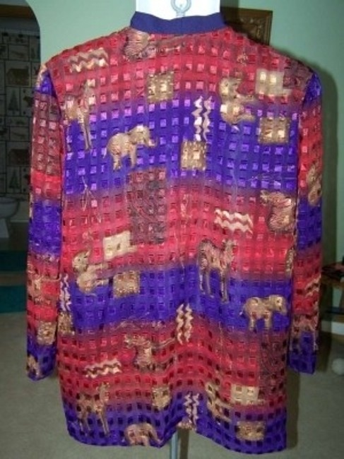 Other With Cardigan Elephants Zebras 24w Long Sleeve Sheer Metallic Purple Brown Wine Top MULTI COLOR