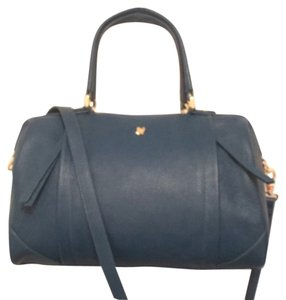 Ora Delphine Leather Cross Body Satchel in Blue