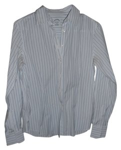 Brooks Brothers Button Down Shirt White and Blue Stripe