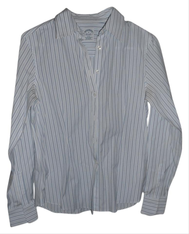 Brooks brothers white and blue stripe non iron button down for Brooks brothers non iron shirt review