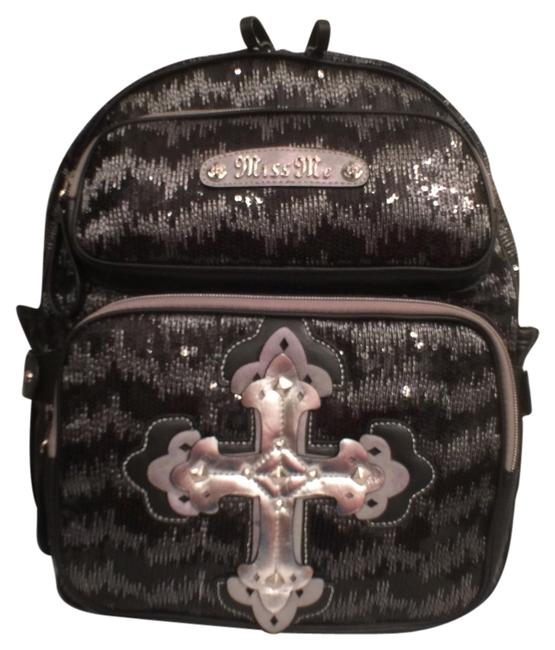 Item - Black Silver Polyurethane Fuax Leather Backpack
