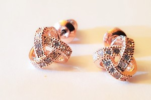 Rose Gold Cz Minimalist Bridal Earrigs