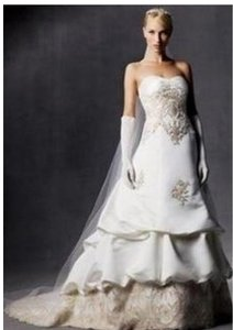 Oleg Cassini Strapless Ivory Beaded Lace- David's Bridal #ce239 Wedding Dress