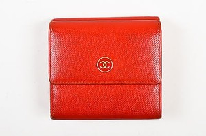 Chanel Chanel Red Leather Gold Tone Metal Cc Flap Top Compact Wallet