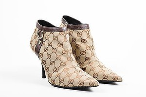 Gucci Brown Monogram Canvas Pointed Beige Boots