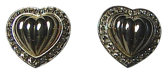 14k Yellow Gold & Sterling Silver 925 Diamond Accent Stud Heart Earrings 14k Yellow Gold & Sterling Silver 925 Diamond Accent Stud Heart Earrings Image 1