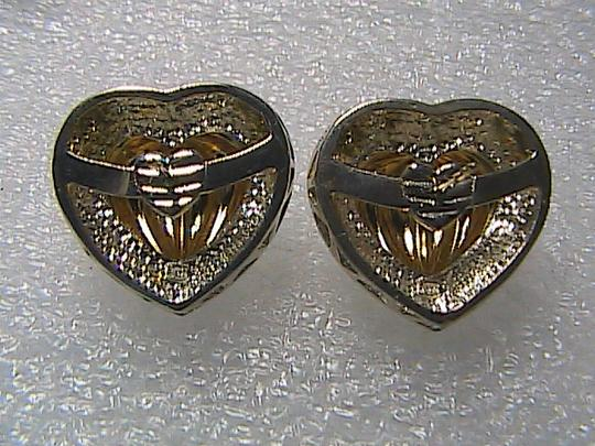 Unknown 14k Yellow Gold & 925 Diamond Accent Stud Heart Earrings