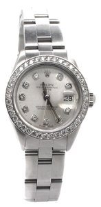 Rolex Rolex Oyster Perpetual Date Stainless Steel Custom Diamond Ladies Watch