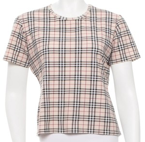 Burberry Nova Check Longsleeve Plaid Monogram Cotton T Shirt Beige, Black