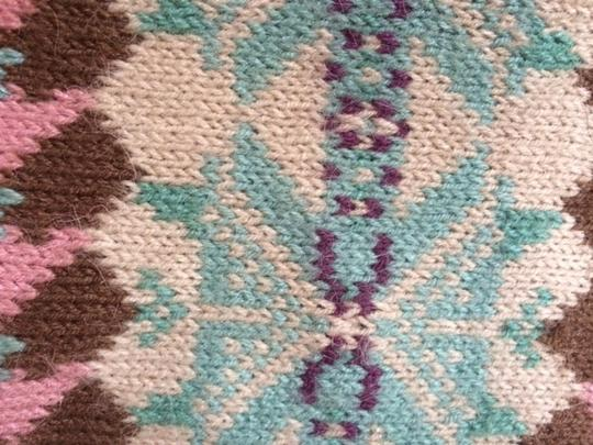 Other Knit Brown, Mint Green, Pink and Creme patterned scarf