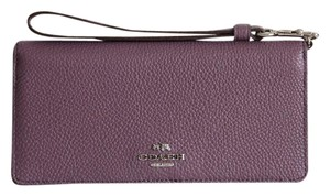 Coach COLORBLOCK SLIM PEBBLED LEATHER WALLET WRISTLET EGGPLANT