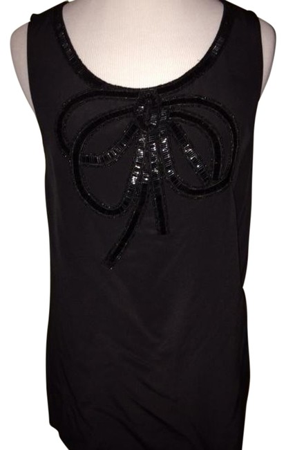 J.Crew Collection Black Beaded Ribbon Front Tank Silk Holiday Top
