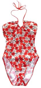 Talbots TALBOTS Red Pink FLORAL ROSE Halter BRA-CAP One-Piece SWIM SUIT 6