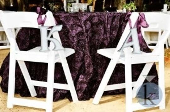 Grey Purple Aubergine K and A -wood Painted Letters with Purple/Aubergine/Eggplant Satin Ribbon Reception Decoration