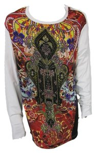 Just Cavalli White Tunic Tunic Long Sleeve T Shirt White Multi