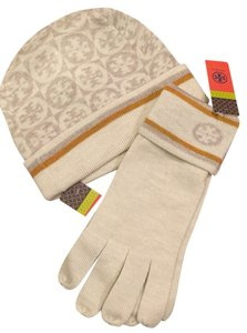 Tory Burch New Auth Tory Burch Jacquard Knit Logo Gloves Hat Set