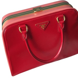 Prada Pyramid Frame Bowler Limited Edition Satchel in Red/Pink
