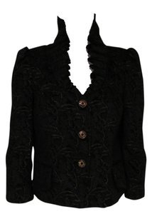 Just Cavalli And Gold Ruffle Made In Italy Black Jacket