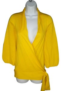 Diane von Furstenberg Wrap Silk Yellow Sweater
