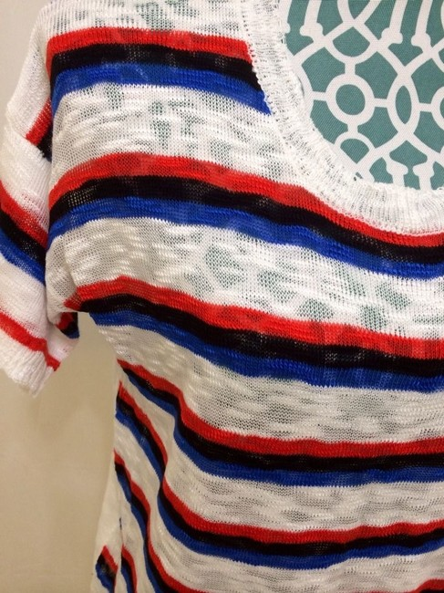 Kensie Anthropologie Knit Shirt Sweater Tshirt Acrylic Light Delicate Short Sleeve Sheer Lovely Adoarble Pretty Girly Cute Fit Top Black, White, Red, Blue