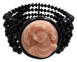 3D Cameo Face with black beading Stretch Bracelet XSmall Free shipping