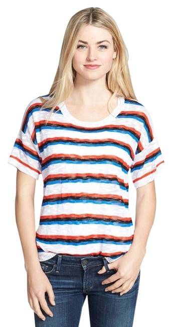 Kensie Knit Sleeve Sweater Sleeve Sheer Striped Scoop Neck Women Ladies Misses Girls Juniors Casual Chic Cute Pretty T Shirt White, Black, Red, Blue
